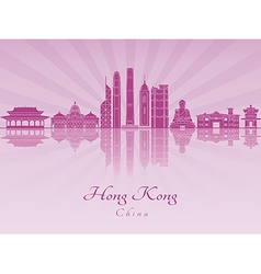 Hong Kong V2 skyline in purple radint orchid vector