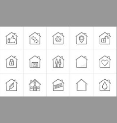houses hand drawn outline doodle icon set vector image