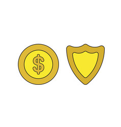 icon concept dollar coin with shield vector image