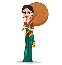 Indian girl with umbrella vector