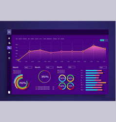 Infographic dashboard template with flat vector