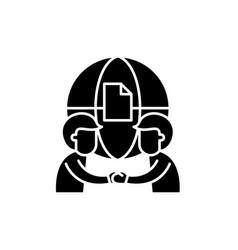 international partnership black icon sign vector image