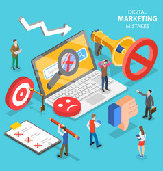 isometric flat concept digital marketing vector image