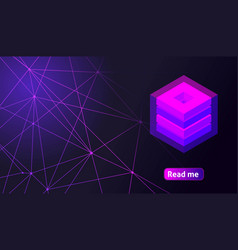isometric holographic geometric icon crypto curren vector image