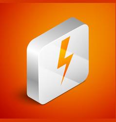isometric lightning bolt icon isolated on orange vector image