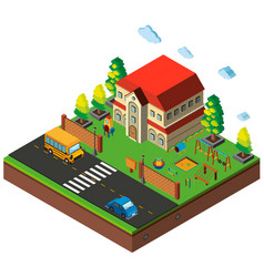 isometric school playground scene vector image