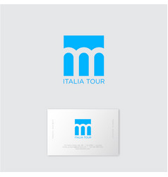 Italy tour logo three arches blue background vector