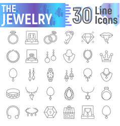 jewelry thin line icon set accessory symbols vector image