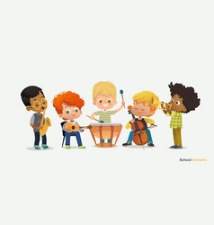 Kids boy orchestra play different music instrument vector