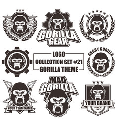 logo collection set with gorilla theme vector image