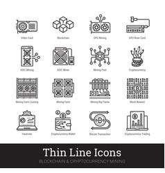 Mining cryptocurrency blockchain icons vector
