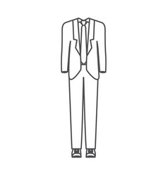 Monochrome silhouette of male formal suit clothes vector