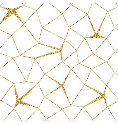 Mosaic geometric seamless pattern 3D gold white 1 vector
