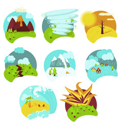 Natural catastrophe icon set flat isolated vector