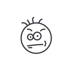 Nerdy geek emoji concept line editable vector