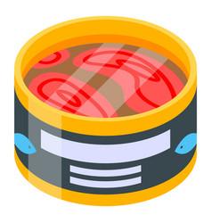 Open tuna tin icon isometric style vector