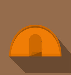 orange tourist tent icon flat style vector image