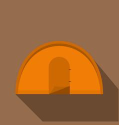 Orange tourist tent icon flat style vector