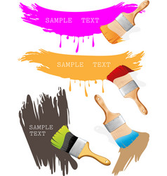 paint brushes and paints vector image