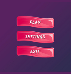 Pink game interface elements in cartoon style vector