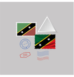 Saint kitts and nevis flag postage stamp set vector
