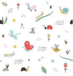 seamless childish pattern with cute insects vector image
