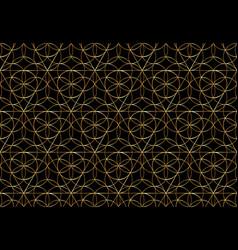 Seamless gold flower life symbol on black vector