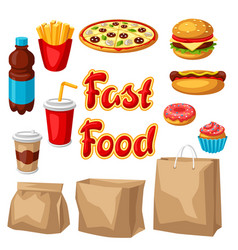 Set fast food meal vector