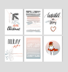 Set of artistic creative merry christmas and nyew vector