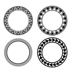 Set of black and white round frames with geometric vector