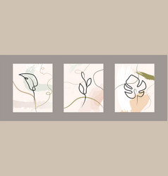 set of floral abstract linear leaves on grey vector image