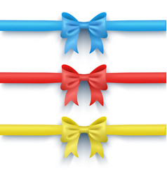 Set of three bows multi-colored vector