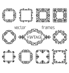 Set of vintage ornate frames vector