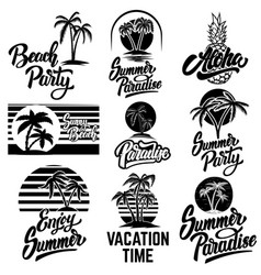 set summer emblems with palms for emblem sign vector image