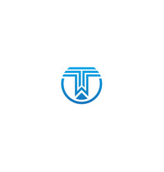 t initial line stripe company logo vector image
