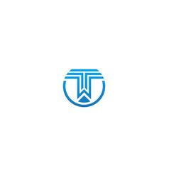 t initial line stripe company logo vector image