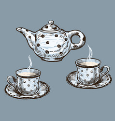 Teapot and teacups vector