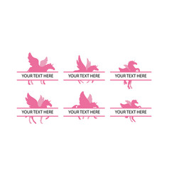 unicorn with split text design template isolated vector image