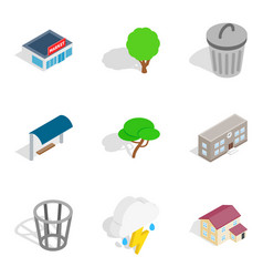 Verdure icons set isometric style vector