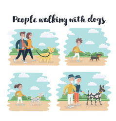 walking dog silhouettes vector image