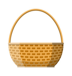 wicker basket icon empty wicker for food picnic vector image