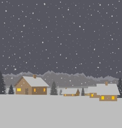 Winter mountain village background vector image