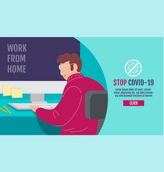 Work from home social distancing concept stop vector
