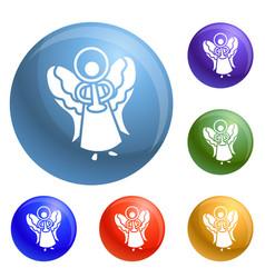 xmas angel icons set vector image