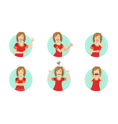 young woman showing various gestures and facial vector image