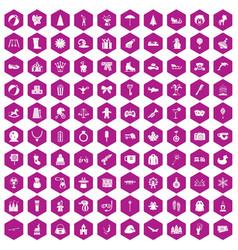100 children icons hexagon violet vector image vector image