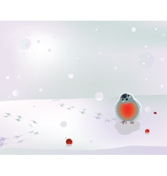 Bullfinch and berries in winter vector image