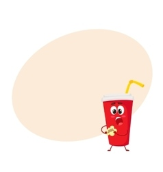 Funny soft drink paper cup character eating a vector image