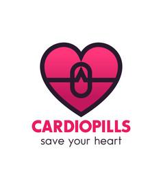 Heart pills logo pharmacy medicine symbol vector