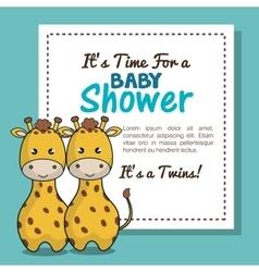 invitation baby shower twins boy giraffe design vector image